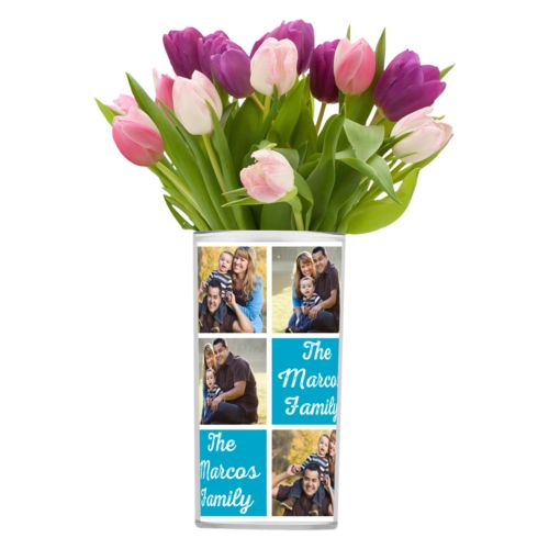 "Personalized vase personalized with photos and the saying ""The Marcos Family"" in juicy blue and white"