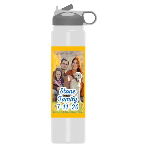 "Insulated water bottle personalized with photo and the saying ""Stone Family 7-11-20"""