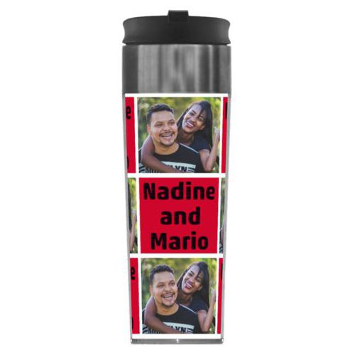 "Personalized steel mug personalized with a photo and the saying ""Nadine and Mario"" in black and apple red"