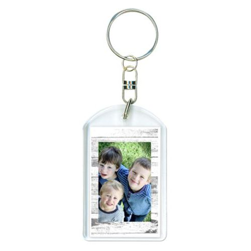 Personalized keychain personalized with white rustic pattern and photo