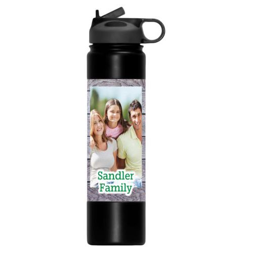 "Personalised water bottle personalized with grey wood pattern and photo and the saying ""Sandler Family"""