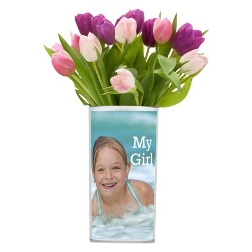 "Personalized vase personalized with photo and the saying ""My Girl"""