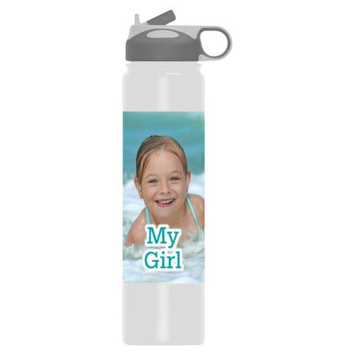 "Thermal water bottle personalized with photo and the saying ""My Girl"""