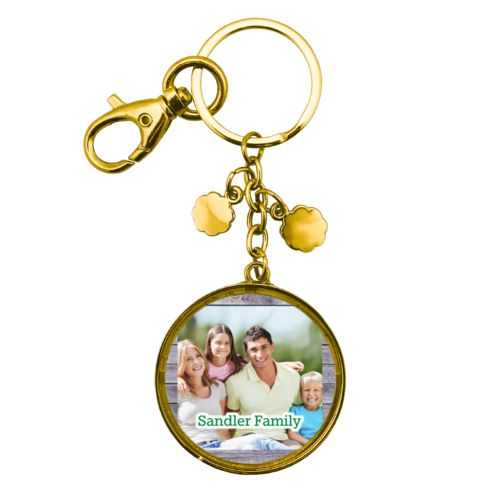 "Personalized metal keychain personalized with grey wood pattern and photo and the saying ""Sandler Family"""