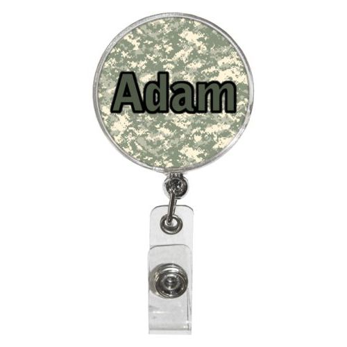 "Personalized badge reel personalized with army camo pattern and the saying ""Adam"""