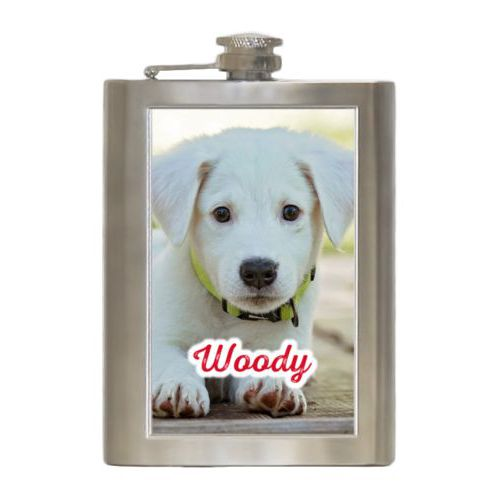 "Personalized 8oz flask personalized with photo and the saying ""Woody"""