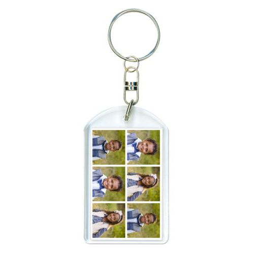 Personalized plastic keychain personalized with photos
