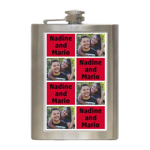 "Personalized 8oz flask personalized with a photo and the saying ""Nadine and Mario"" in black and apple red"