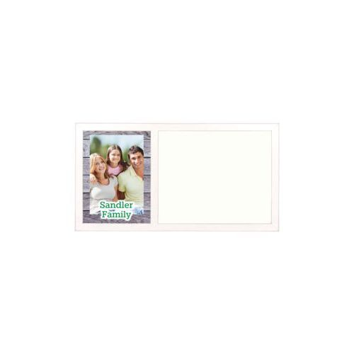 "Personalized white board personalized with grey wood pattern and photo and the saying ""Sandler Family"""