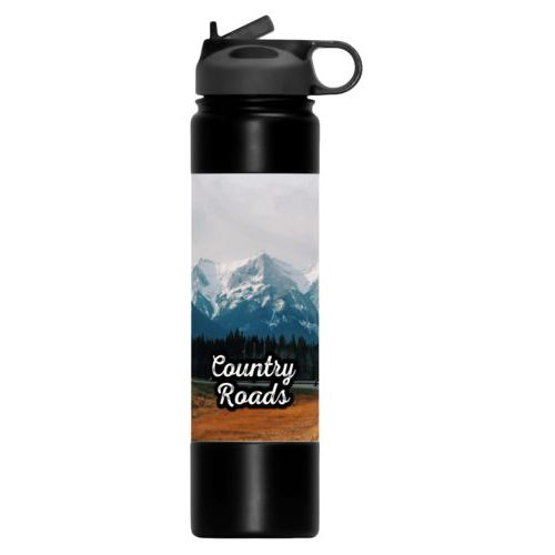 "Double walled water bottle personalized with photo and the saying ""Country Roads"""