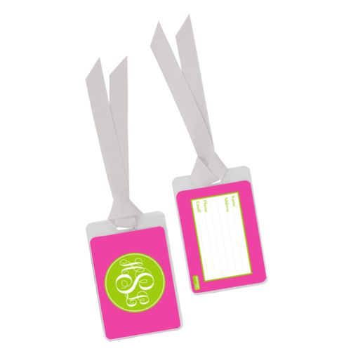 Personalized luggage tag personalized with concaved pattern and monogram in juicy green and juicy pink
