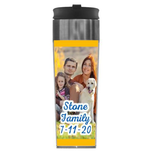 "Personalized steel mug personalized with photo and the saying ""Stone Family 7-11-20"""