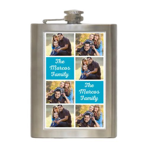 "Personalized 8oz flask personalized with photos and the saying ""The Marcos Family"" in juicy blue and white"