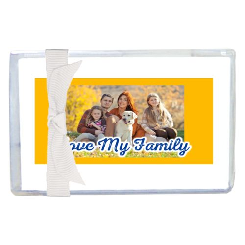 "Personalized enclosure cards personalized with photo and the saying ""Love My Family"""
