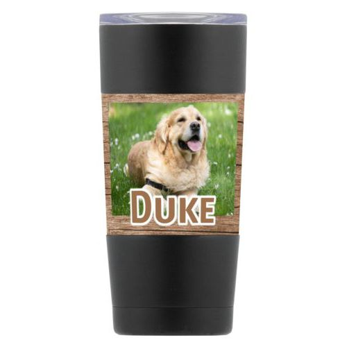 "Personalized insulated steel mug personalized with brown wood pattern and photo and the saying ""Duke"""