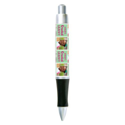 "Personalized pen personalized with a photo and the saying ""World's Greatest Grammy"" in pomegranate and spearmint"