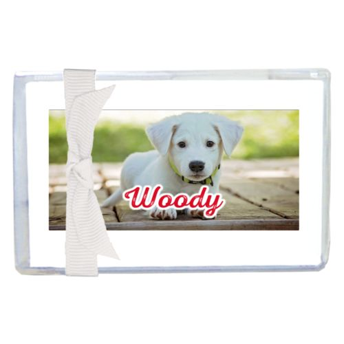 "Personalized enclosure cards personalized with photo and the saying ""Woody"""