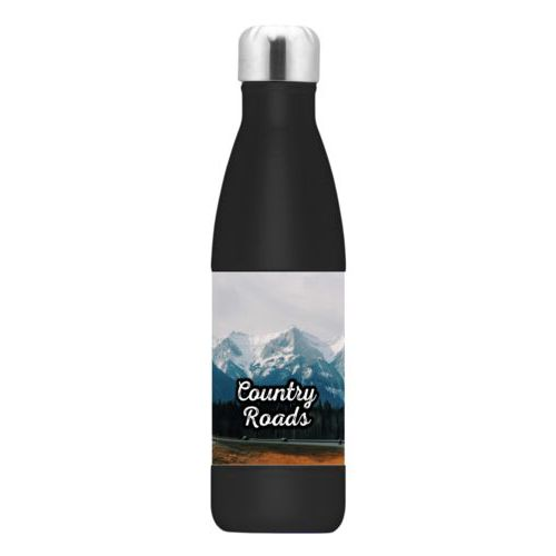 "Personalized stainless steel water bottle personalized with photo and the saying ""Country Roads"""