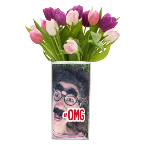 "Personalized vase personalized with photo and the saying ""#omg"""