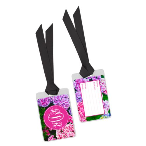Personalized bag tag personalized with hydrangea pattern and monogram in pink