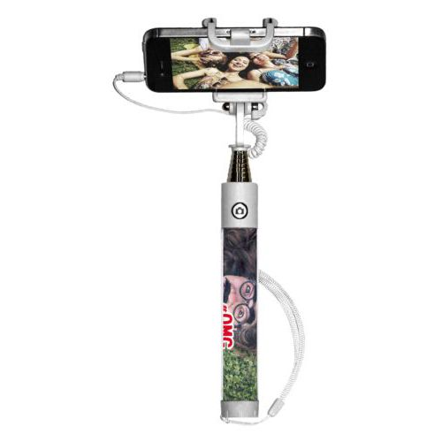 "Personalized selfie stick personalized with photo and the saying ""#omg"""