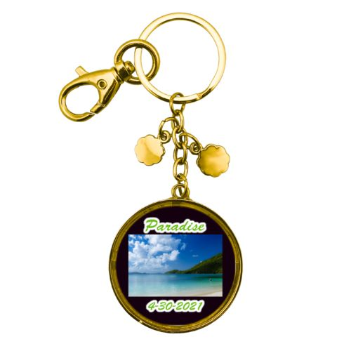 "Personalized metal keychain personalized with photo and the sayings ""Paradise"" and ""4-30-2021"""