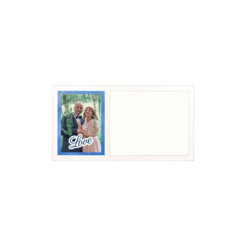 "Personalized white board personalized with blue cloud pattern and photo and the saying ""love"""