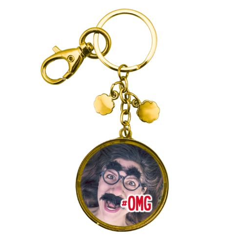 "Personalized metal keychain personalized with photo and the saying ""#omg"""