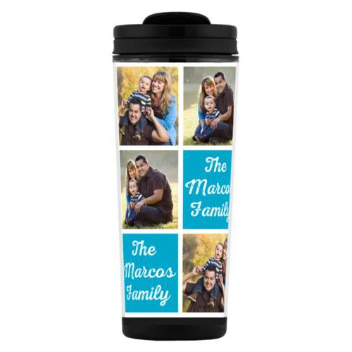 "Custom tall coffee mug personalized with photos and the saying ""The Marcos Family"" in juicy blue and white"