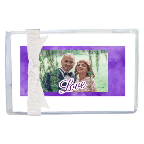 "Personalized enclosure cards personalized with purple cloud pattern and photo and the saying ""love"""