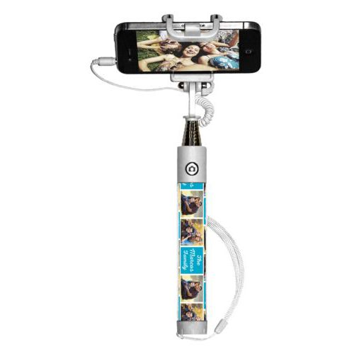 "Personalized selfie stick personalized with photos and the saying ""The Marcos Family"" in juicy blue and white"