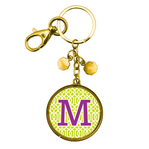 "Personalized metal keychain personalized with ironwork pattern and the saying ""M"""