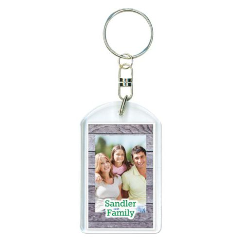 "Personalized keychain personalized with grey wood pattern and photo and the saying ""Sandler Family"""