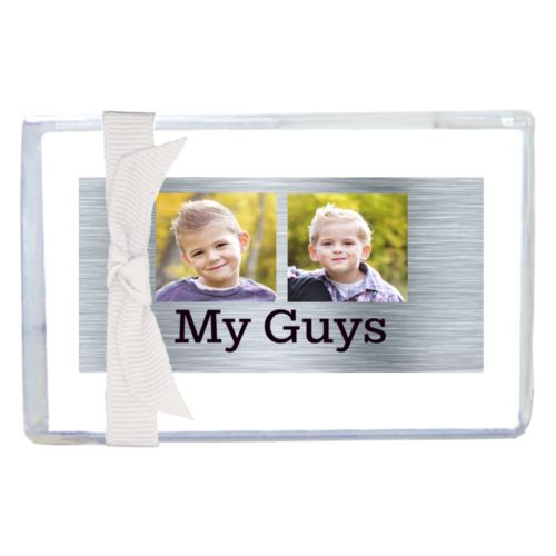 "Personalized enclosure cards personalized with steel industrial pattern and photo and the saying ""My Guys"""