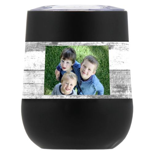 Personalized insulated wine tumbler personalized with white rustic pattern and photo