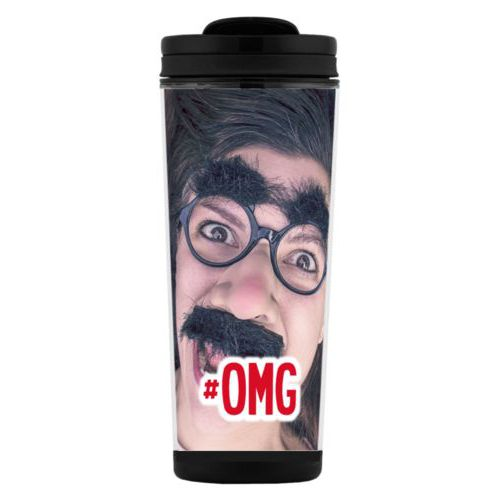 "Custom tall coffee mug personalized with photo and the saying ""#omg"""