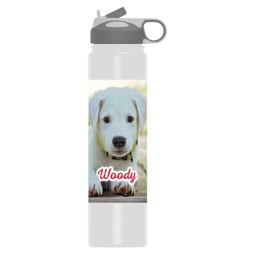 "Custom water bottle personalized with photo and the saying ""Woody"""