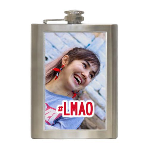 "Personalized 8oz flask personalized with photo and the saying ""#lmao"""
