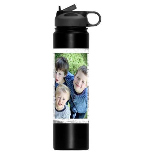 Vacuum water bottle personalized with white rustic pattern and photo