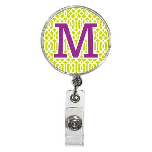 "Personalized badge reel personalized with ironwork pattern and the saying ""M"""