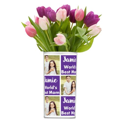 "Personalized vase personalized with a photo and the saying ""Jamie World's Best Mom"" in purple and white"