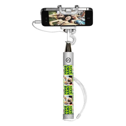 "Personalized selfie stick personalized with a photo and the saying ""Live love bark"" in navy blue and juicy green"