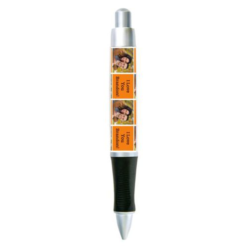 "Personalized pen personalized with a photo and the saying ""I Love You Brandon!"" in black and juicy orange"