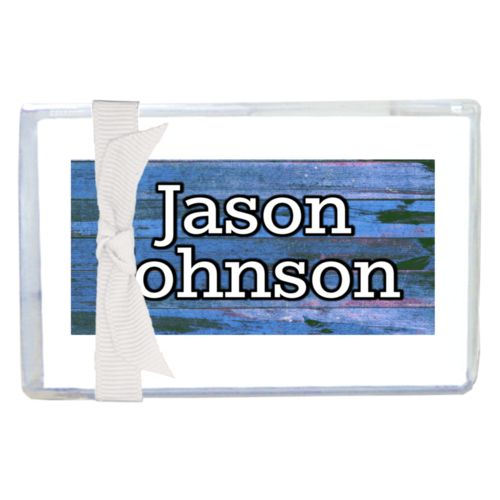 "Personalized enclosure cards personalized with sky rustic pattern and the saying ""Jason Johnson"""