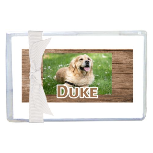 "Personalized enclosure cards personalized with brown wood pattern and photo and the saying ""Duke"""