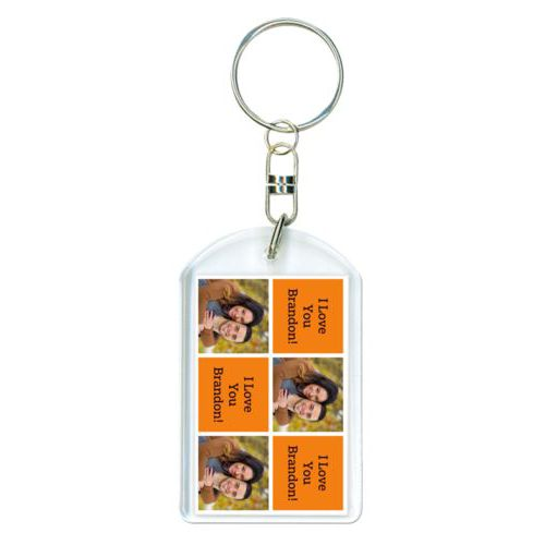 "Personalized keychain personalized with a photo and the saying ""I Love You Brandon!"" in black and juicy orange"
