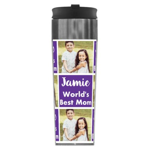 "Personalized steel mug personalized with a photo and the saying ""Jamie World's Best Mom"" in purple and white"