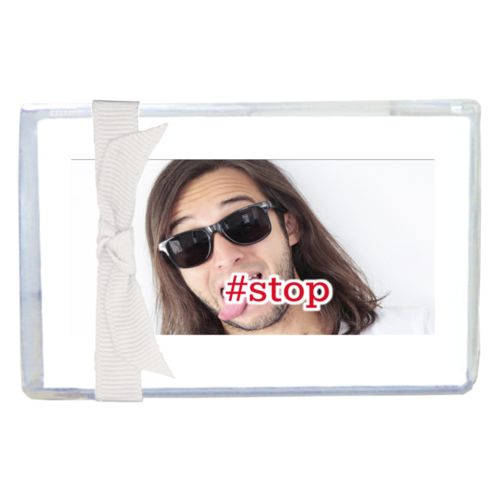 "Personalized enclosure cards personalized with photo and the saying ""#stop"""