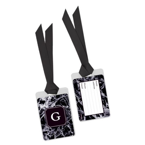 Personalized bag tag personalized with onyx pattern and initial in black licorice
