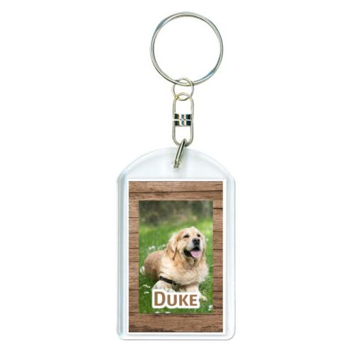 "Personalized keychain personalized with brown wood pattern and photo and the saying ""Duke"""